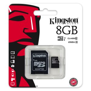 De Kingston 8GB MicroSDHC class 10