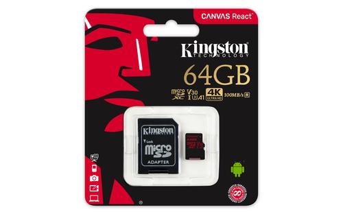Kingston Canvas React 64GB MicroSDXC 100mbs