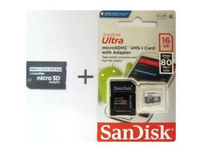 Adapter Memory Stick Pro Duo en 16GB microSDHC